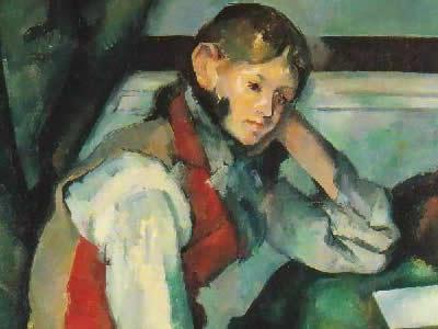 セザンヌの「赤いチョッキの少年」のイメージ画像