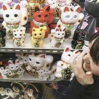 不況の中、売れ行きが好調の「招き猫」(大阪市中央区の道具屋筋商店街で)